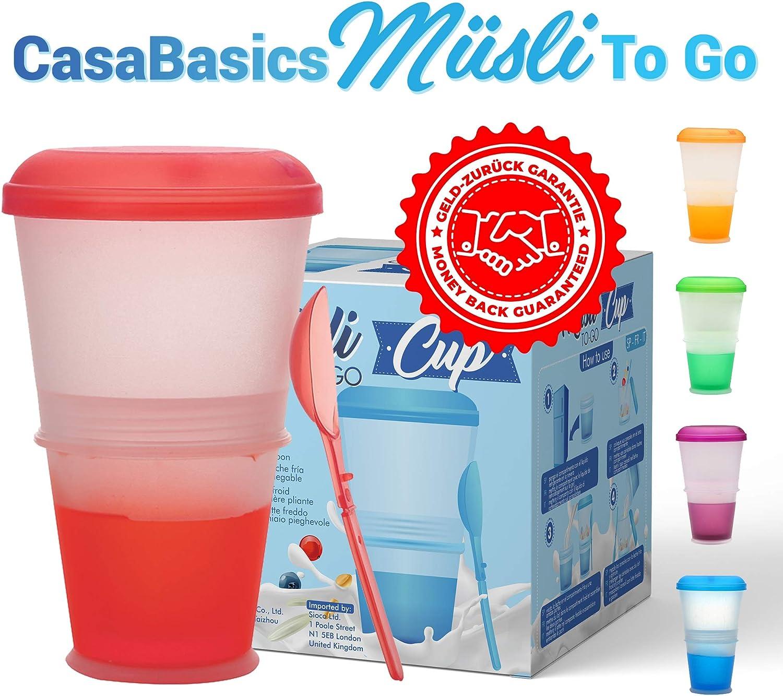 Tazza per Cereali con Scomparto di Raffreddamento per Latte//Yogurt Colore Viola Muesli to Go Cucchiaio Incluso