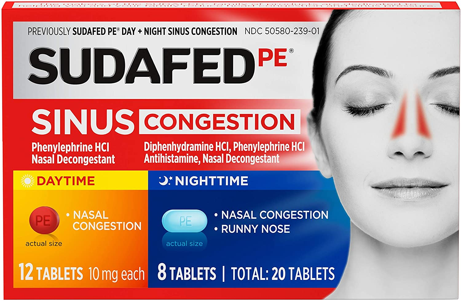 Sudafed PE Sinus Congestion Day + Night Maximum Strength Decongestant Tablets, 20 ct: Health & Personal Care