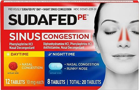 Sudafed PE Sinus Congestion Day + Night Maximum Strength Decongestant Tablets