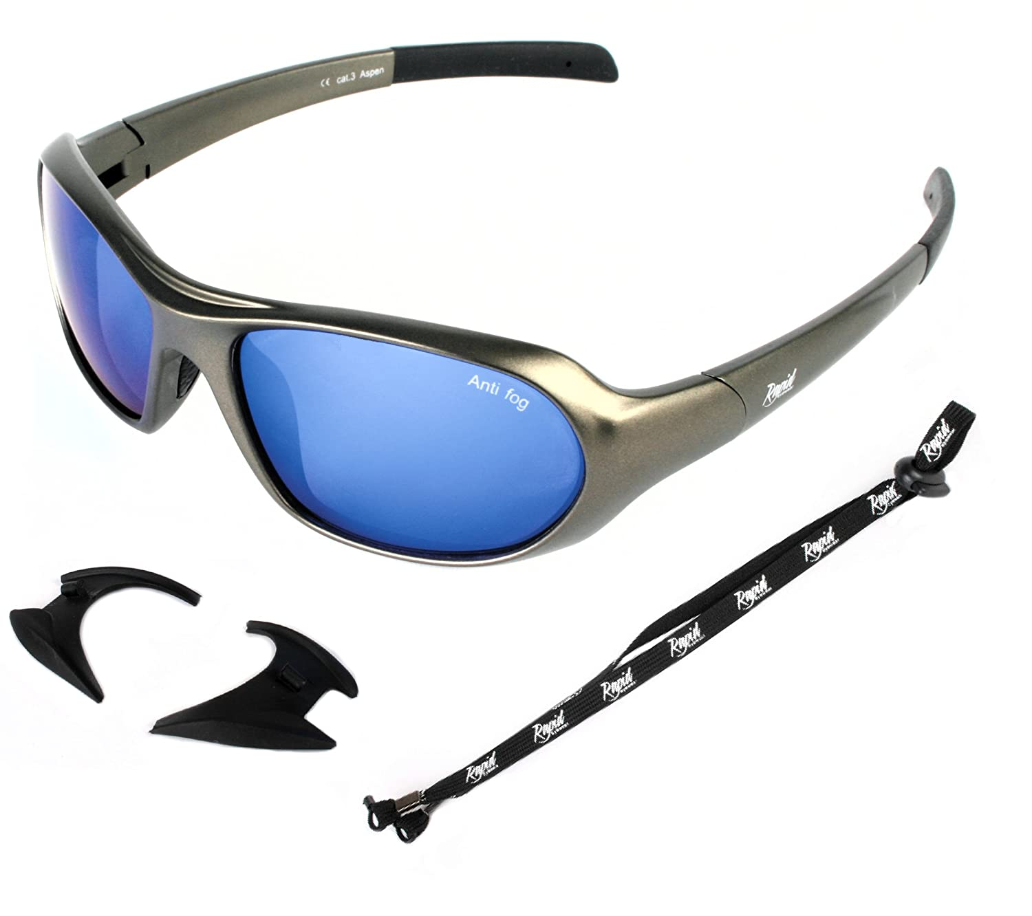 73ed67137678 Rapid Eyewear Aspen SKIING GLACIER AND EXTREME SPORT SUNGLASSES   GOGGLES  Anti Fog Blue Mirror Lenses and Retainer Strap for Men and Women.