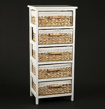 decomania meuble chiffonnier 5 paniers poignes en bois habillage en tissu style campagne chic