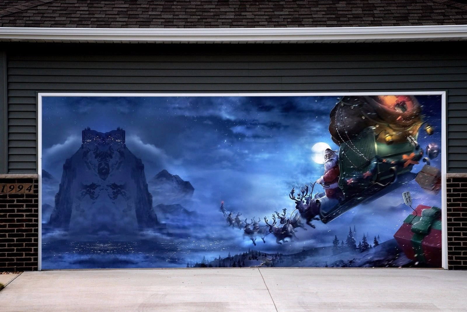 3D Billboard for 2 Car Garage Door Christmas Garage Door Decorations Full Color Holiday Covers Banners Outdoor Murals size 82x188 inches Merry Christmas House Decor DAV22