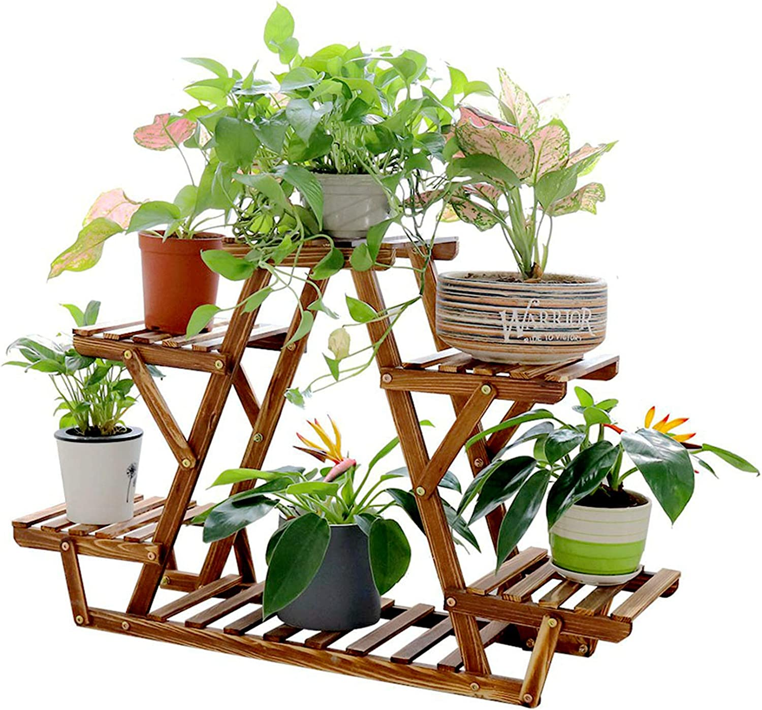 unho Triangular Plants Stand Shelf Indoor 6 Potted Wooden Flower Pot Stand Window Patio Rack Holder for Herbs Plants Succulents Flowers Decors
