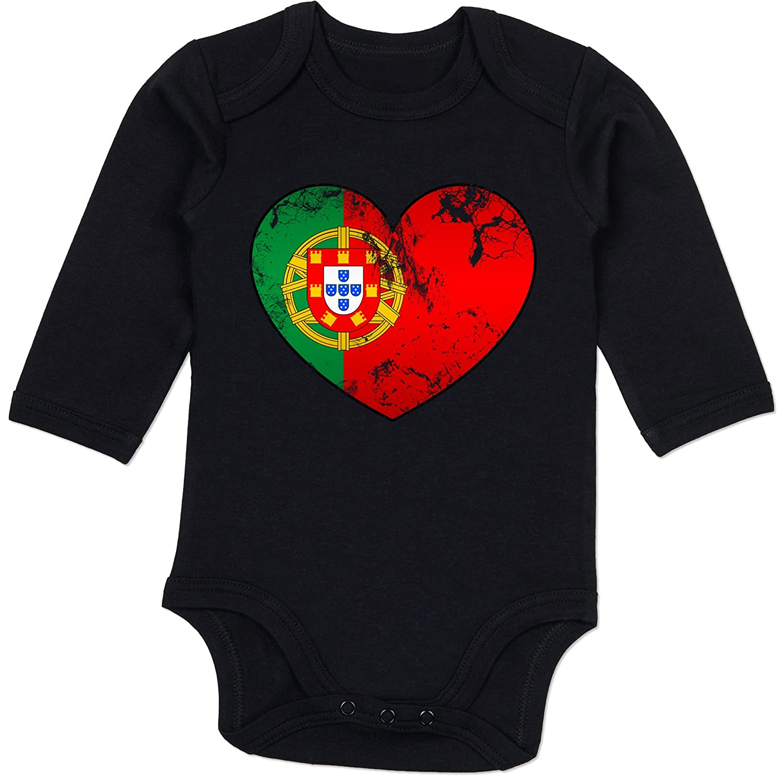 Baby Body Langarm Baby Shirtracer Fu/ßball-Europameisterschaft 2020 Portugal Vintage Herz