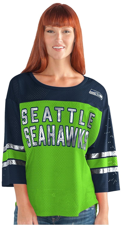最初チームメッシュトップ B073ZTWYPN Medium|グリーン/ネイビー|Seattle Seahawks グリーン/ネイビー Medium