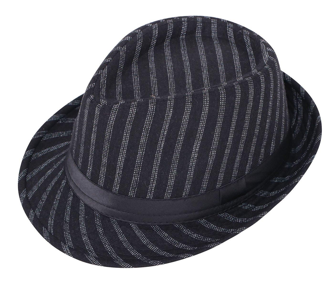 Halconia Men & Women's Classic Dapper Wool Structured Fedora Hat Black