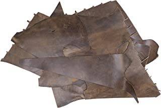 product image for Rustico 2lb Box of Dark Brown Colored Top Grain Leather Remnants and Leather Scraps in Form USA Raised Cows, 2 – 3 MM Thick (4.5-5.5 Ounces) Leather for Crafts