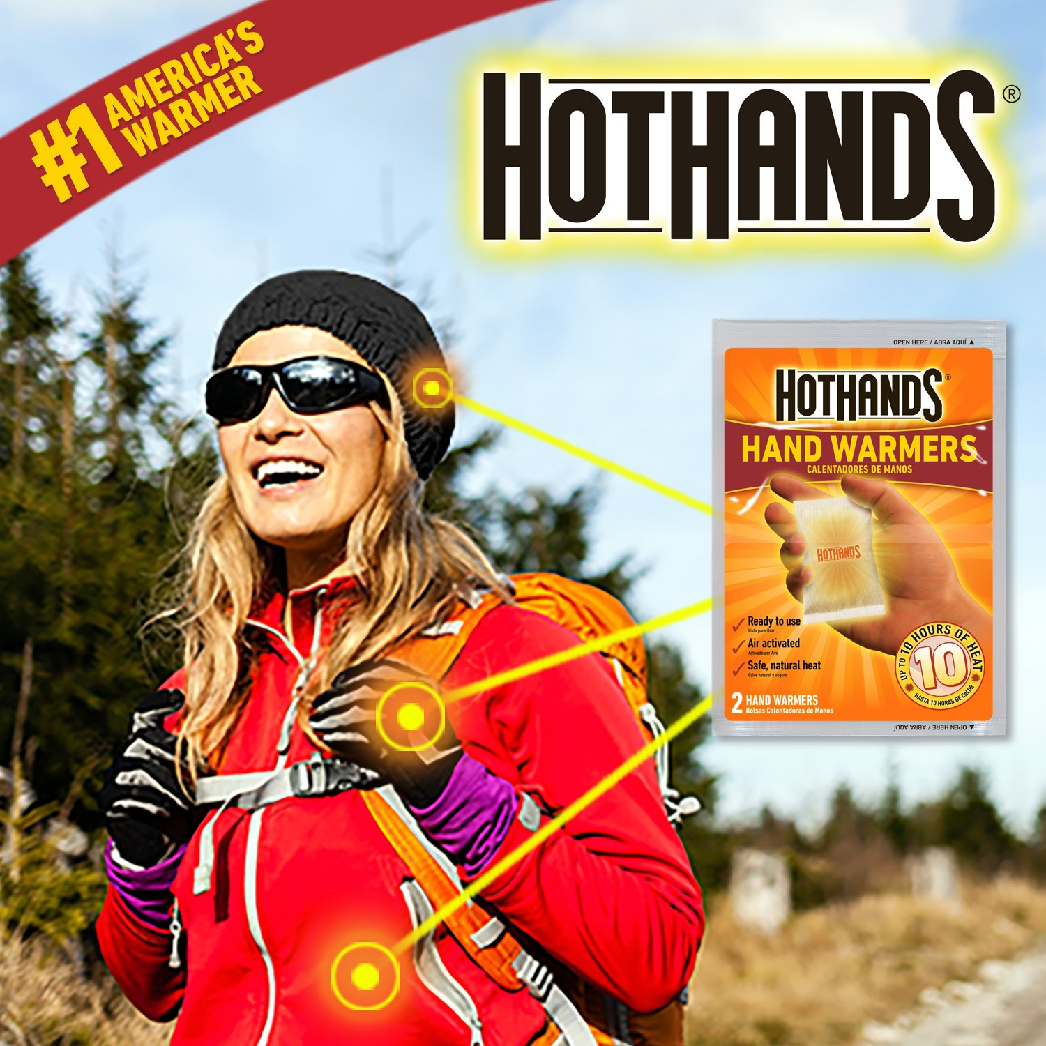 Up to 10 Hours of Heat 40 Pair HotHands Hand Warmers Long Lasting Safe Natural Odorless Air Activated Warmers