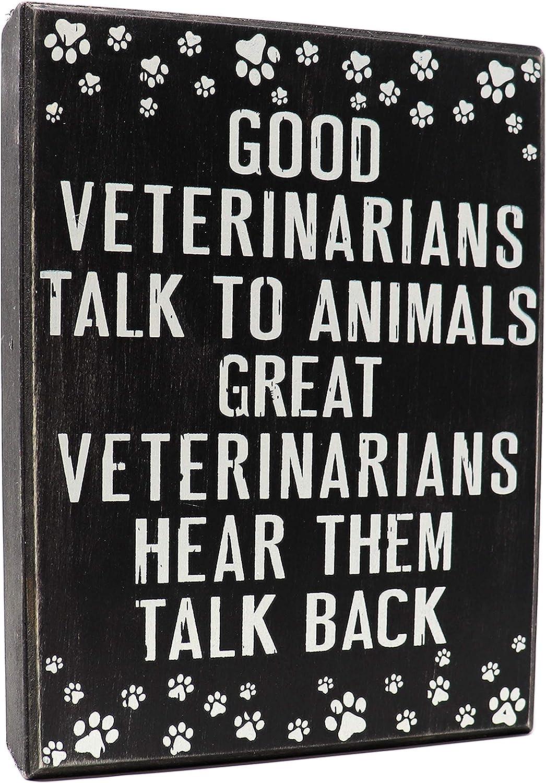 JennyGems - Good Veterinarians Talk to Animals, Great Veterinarians Hear Them Talk Back - Veterinarian Decor - Veterinarian Gift - Funny Sayings for Veterinarians - Veterinarian Signs - Vet Plaque