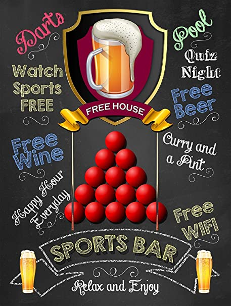 Sports Bar Free House -Cartel De Chapa Advertencia Placa ...