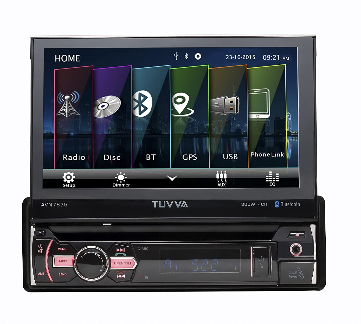 TUVVA 7' Sinle DIN Car Stereo Touch Screen GPS Navigation, DVD/ CD/ USB/ AUX-IN/ PhoneLink/ RDS/ Remote Control AVN7875