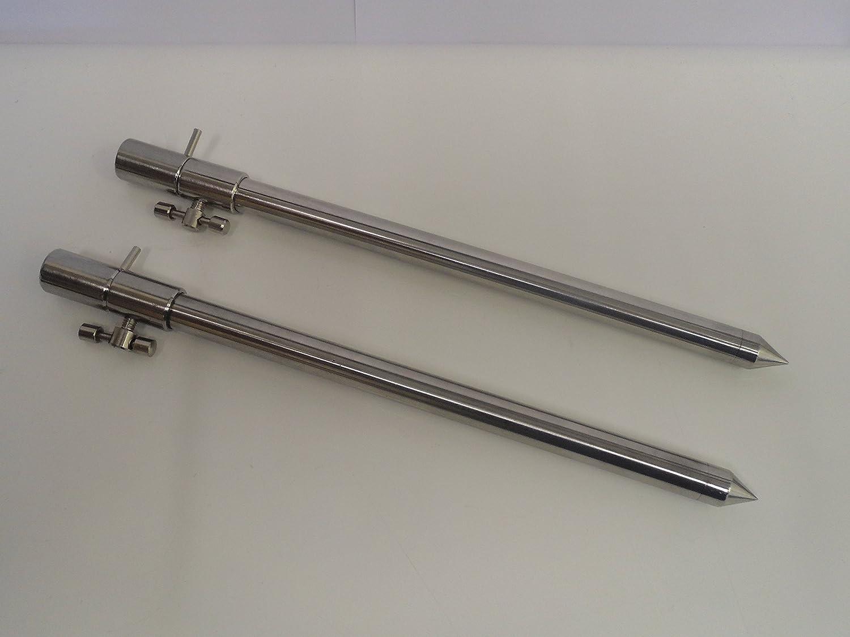 2 x New Stainless Steel Fishing Bank Sticks 50-90cm T Bar Banksticks