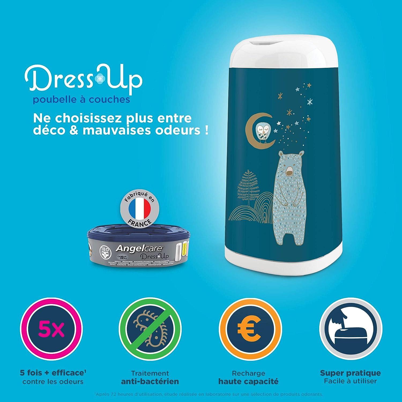 Usage Simple 1 recharge Angelcare Dress up Poubelle /à Couches Blanc Anti Odeurs et Grande Capacit/é