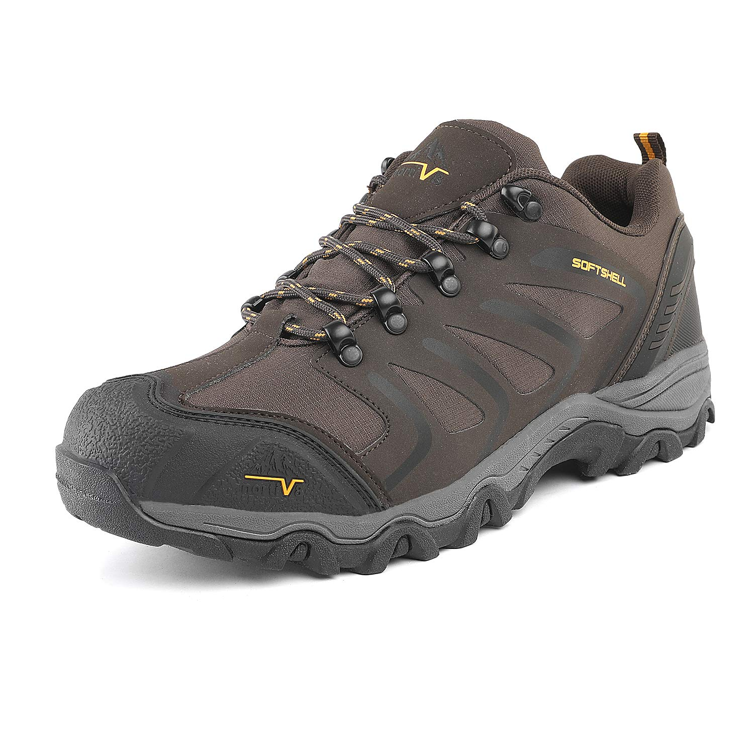 NORTIV 8 Men's 160448-low Brown Black Tan Low Top Waterproof Hiking Boots Outdoor Lightweight Shoes Backpacking Trekking Trails Size 10 M US