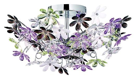 Plafoniera Fiori Lilla : Reality r60014017 flower plafoniera 4 spot metallo cromato: amazon