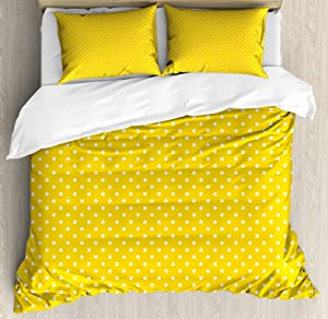 Ambesonne Vintage Yellow Duvet Cover Set, Traditional Polka Dot Pattern Traditional European Spotty Retro Design, Decorative 3 Piece Bedding Set with 2 Pillow Shams, Queen Size, Yellow White