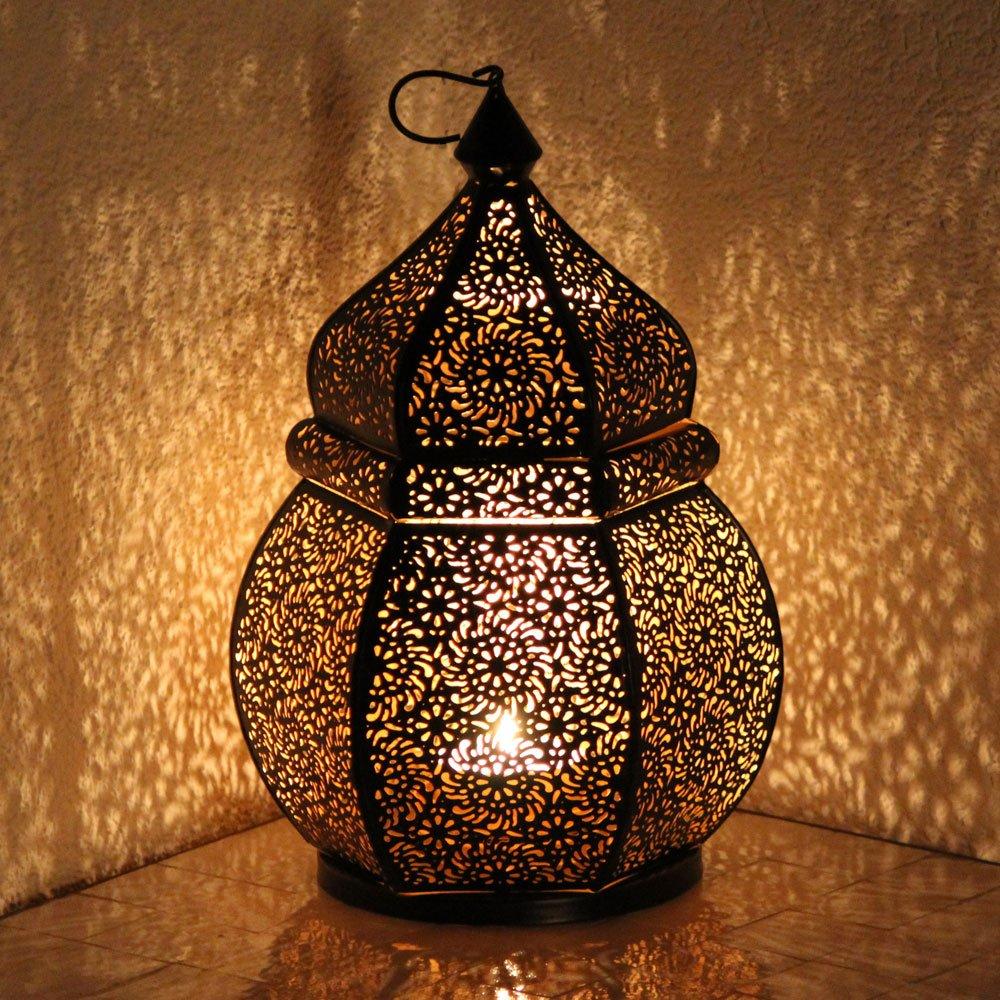 albena shop 71-4956 Teja lanterna di ferro orientali 35 cm lanterna antivento metallo (nero/interno oro)