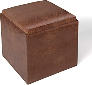 SIMPLIHOME Rockwood 17 inch Wide Contemporary Square Cube Storage Ottoman with Tray in Distressed Saddle Brown Faux Air Leather
