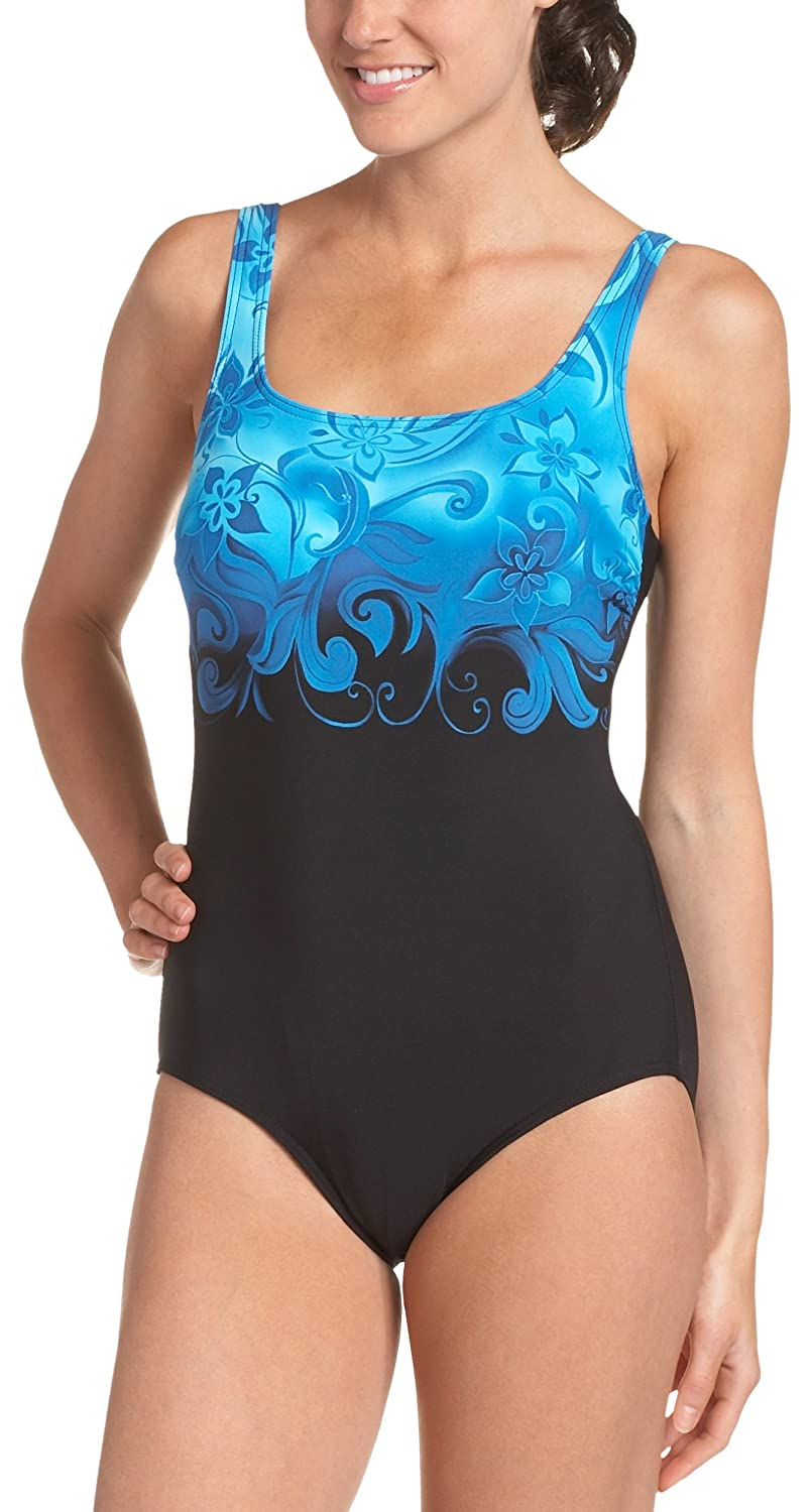 bcb87a8ab9a0e Amazon.com: Reebok Women's Socialite Scoop One Piece Swimsuit,Blue,8:  Clothing