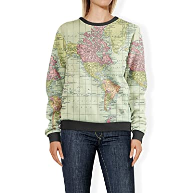 World Map Sweater.Queen Of Cases Antique World Map 1913 Womens Sweatshirt Xs Sweater