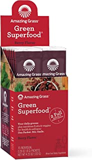 product image for Amazing Grass Green Superfood: Super Greens Powder with Spirulina, Chlorella, Digestive Enzymes & Probiotics, Berry, 15 Servings