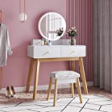 M&W Makeup Vanity Table Set with Round Mirror, Built-in 3 Color LED Light, Dressing Desk with 4 Drawers and Cushioned Stool f