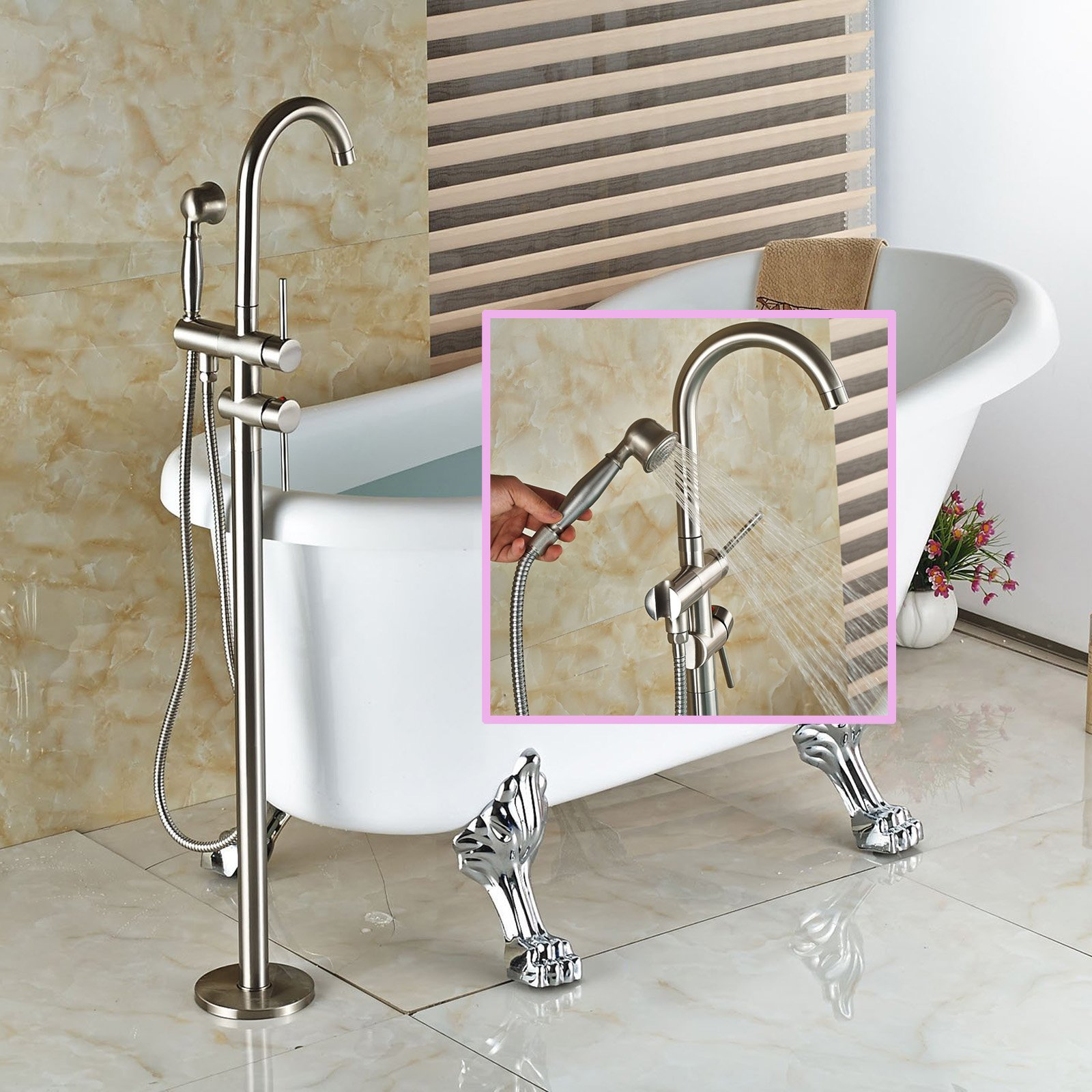 Senlesen Floor Mounted Bathroom Faucet Free Standing Bath Tub Filler Hot Cold Water Taps with Handheld Shower Brushed Nickel by Senlesen