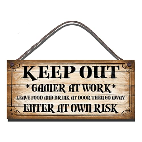 Wooden Funny Sign Keep Out Gamer At Work Leave Food And Drink At Door And Go Away Enter At Own Risk Shabby Chic Birthday Occasion Wall Plaque Gift Present
