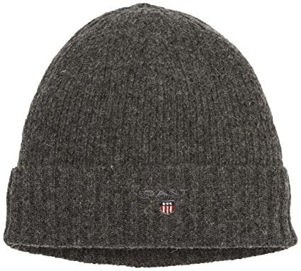 d5831011 GANT Men's Cotton/Wool Lined Beanie Beanie, Grey (Charcoal Melange),One