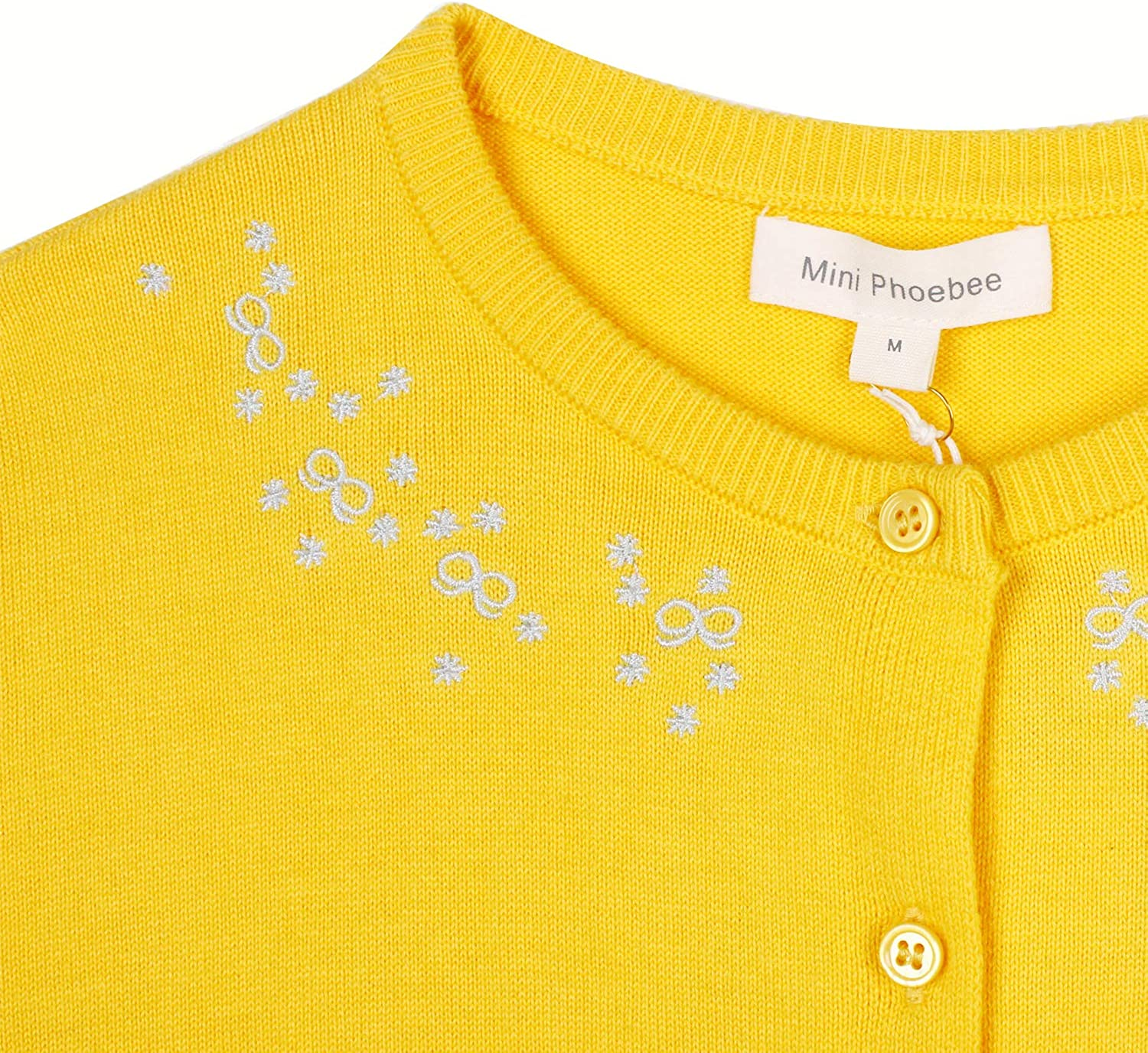 Mini Phoebee Girls Long Sleeve Button Cardigan Sweater Floral Embroidery Pattern Knit Top