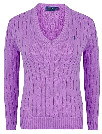 b237fa2ec Ralph Lauren Womens V- Neck Cable Knit Jumper  Amazon.co.uk  Clothing