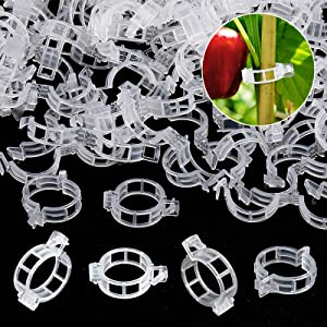 200PCS Plant Support Garden Clips, Vegetable Tomato Supports Trellis Clip Tape for Climbing Crop Vine Twine String Cage Ties Stakes, Grow Strawberry Rose Grape Cucumber Orchid Pea Pothos Melon Tree