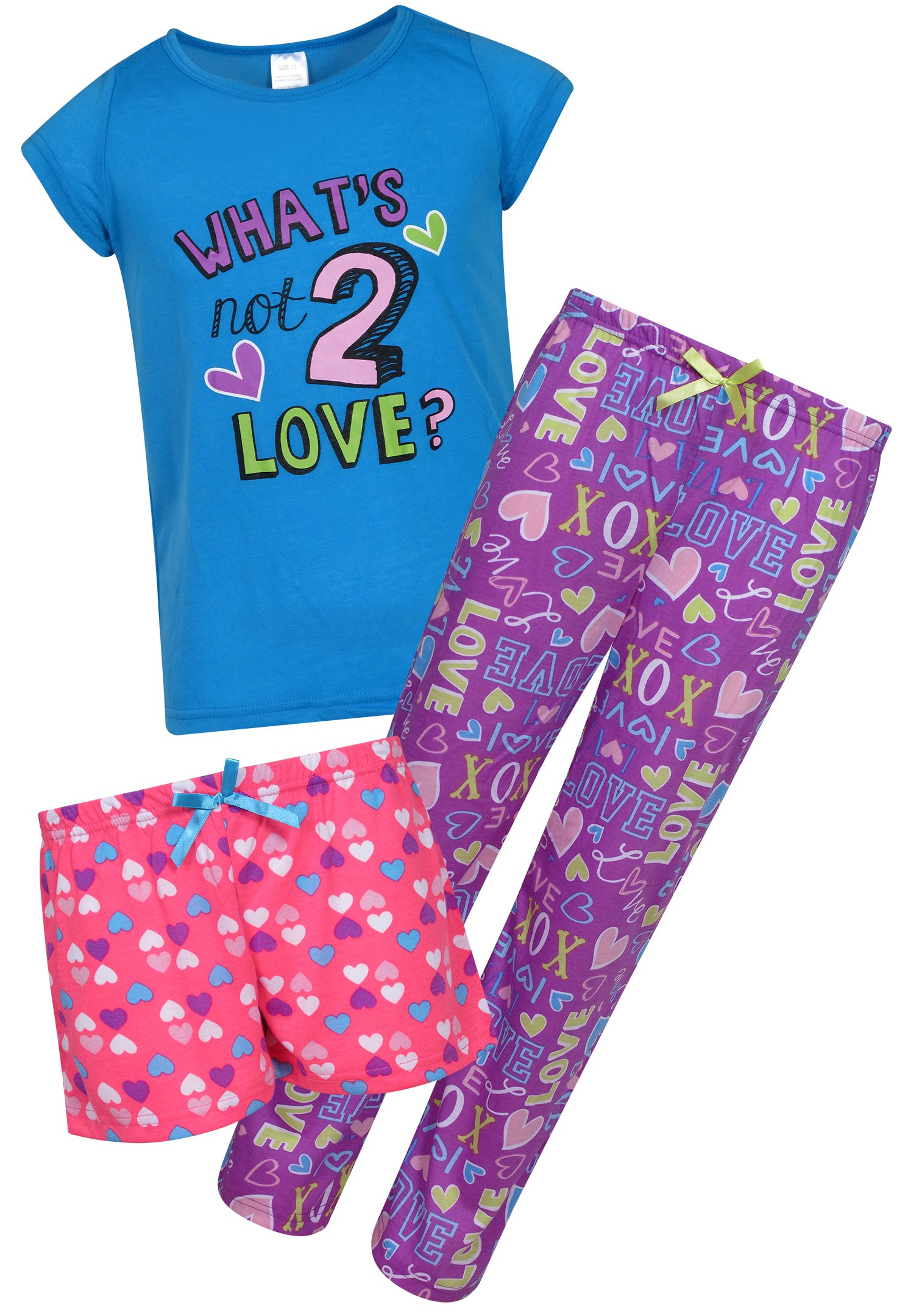Sleep & Co Girl's 3-Piece Spring Pajama Set, Love, Size 10'