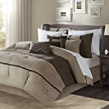 Madison Park Palisades Queen Size Bed Comforter Set Bed In A Bag - Brown, Taupe , Pieced Stripe – 7 Pieces Bedding Sets – Mic