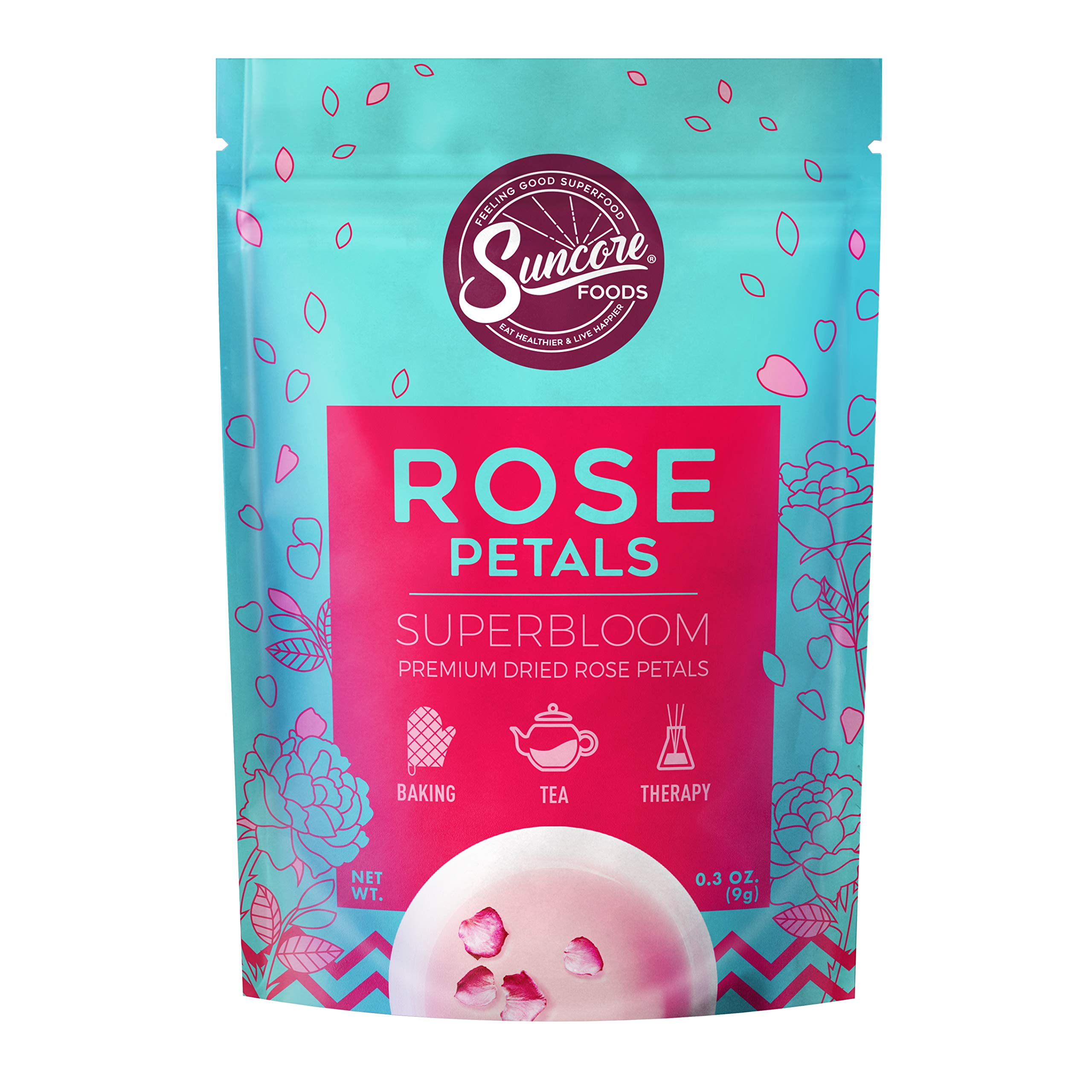 Suncore Foods - Premium Dried Rose Petals Superbloom, No Caffeine, No Preservatives, 0.3oz