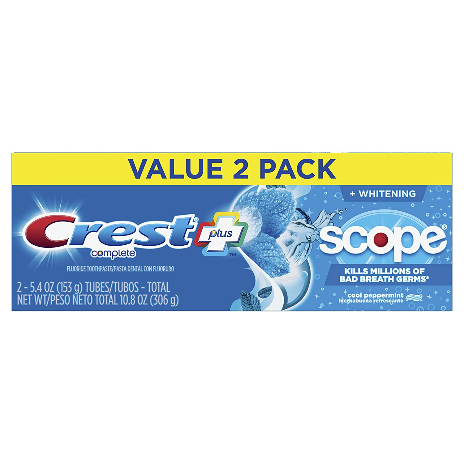 Crest Plus Scope Complete Whitening Toothpaste, Cool Peppermint, 5.4 Ounce, 6 Count