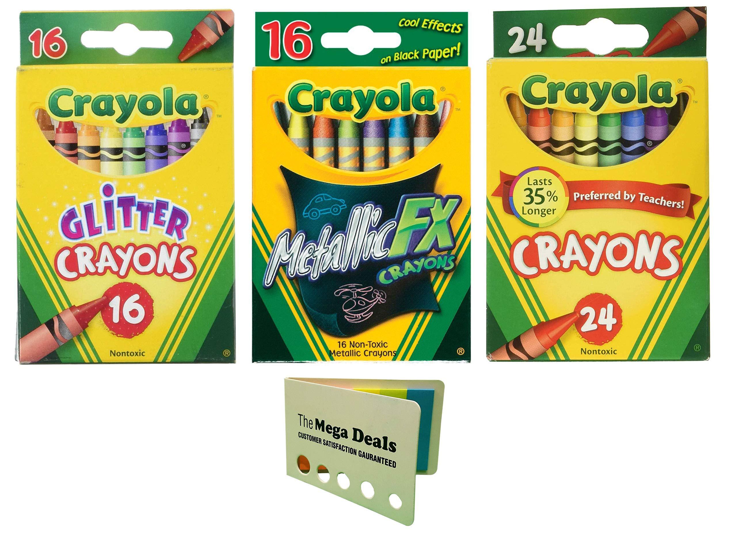 Crayola Glitter Crayons, 16 Count | Metallic FX Crayons, 16 Count | Crayons, 24 Count | Includes 5 Color Flag Set