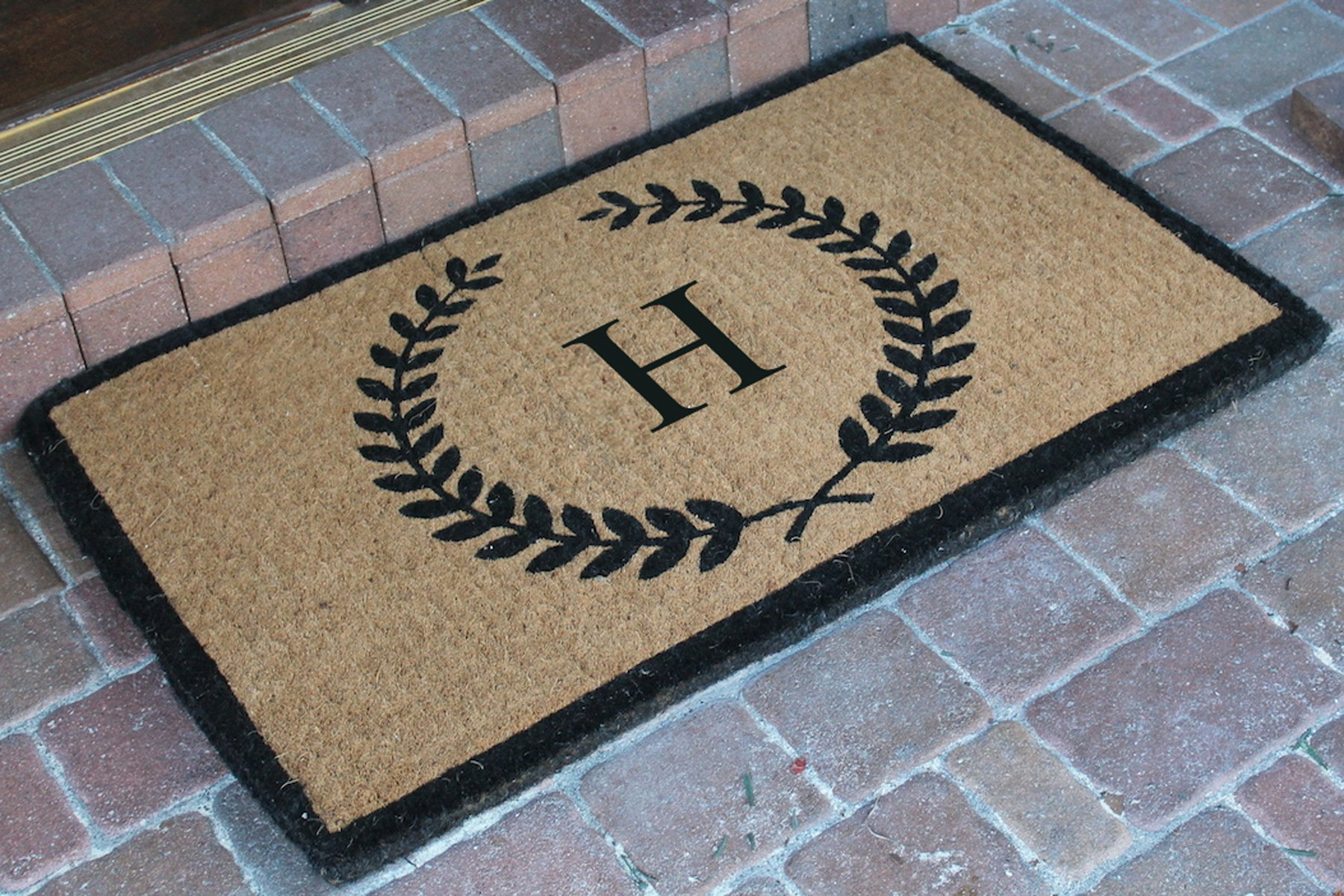 A1 Home Collections First Impression Divina Handwoven Extra Thick Leaf Doormat Monogrammed H,Large (24''X39'')