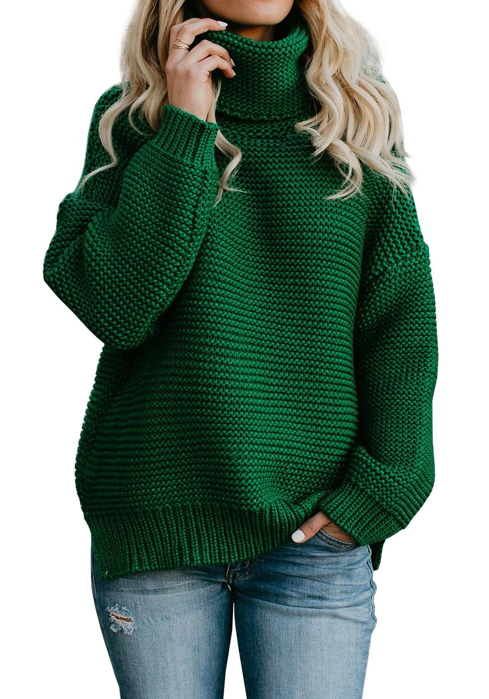 Gobought Womens Turtleneck Knitted Sweater Loose Long Sleeve Pullover with Slit