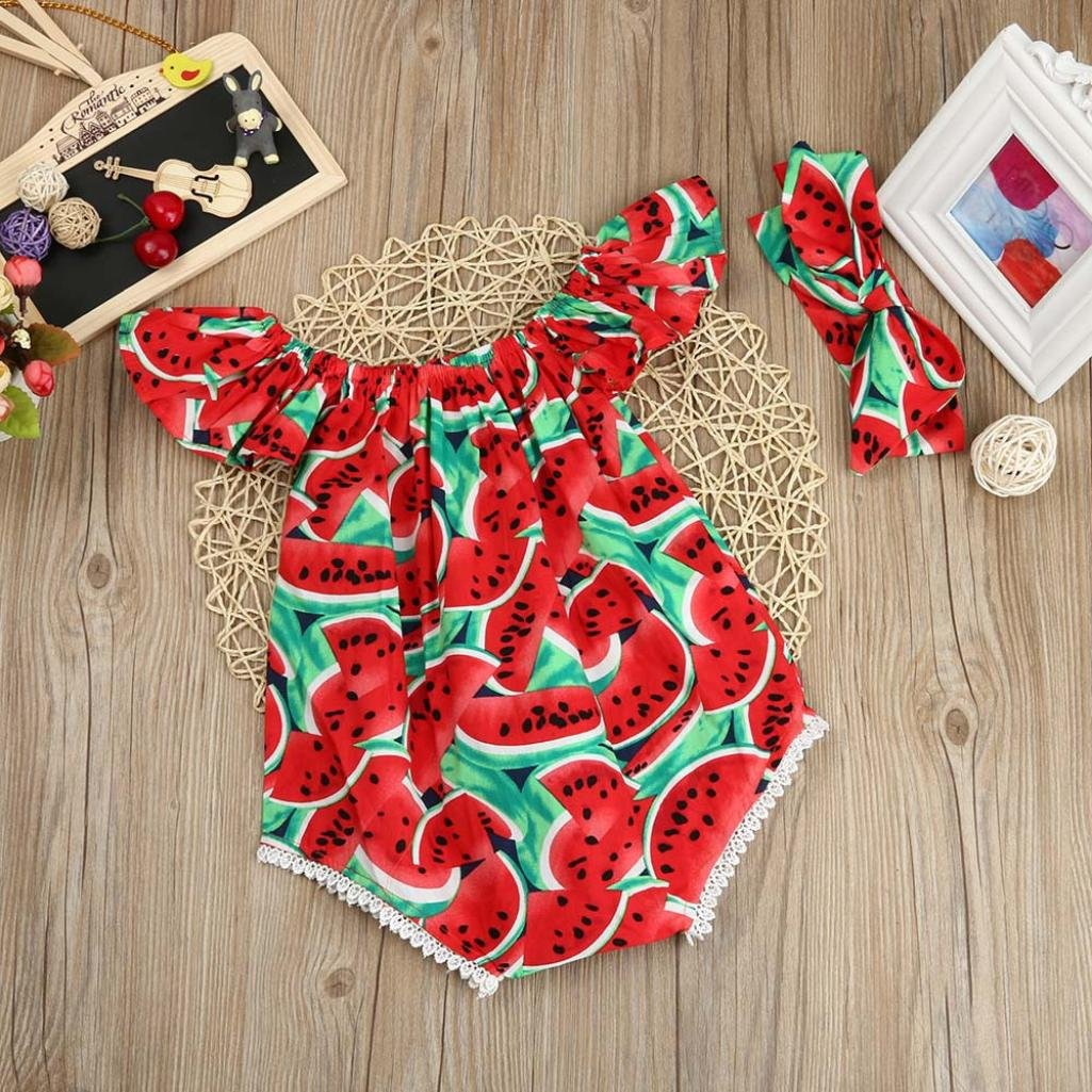 Baby Onesies,Cute Infant Toddler Girls Watermelon Print Off The Shoulder Romper Headband Outfits Clothes Set 0-2 T