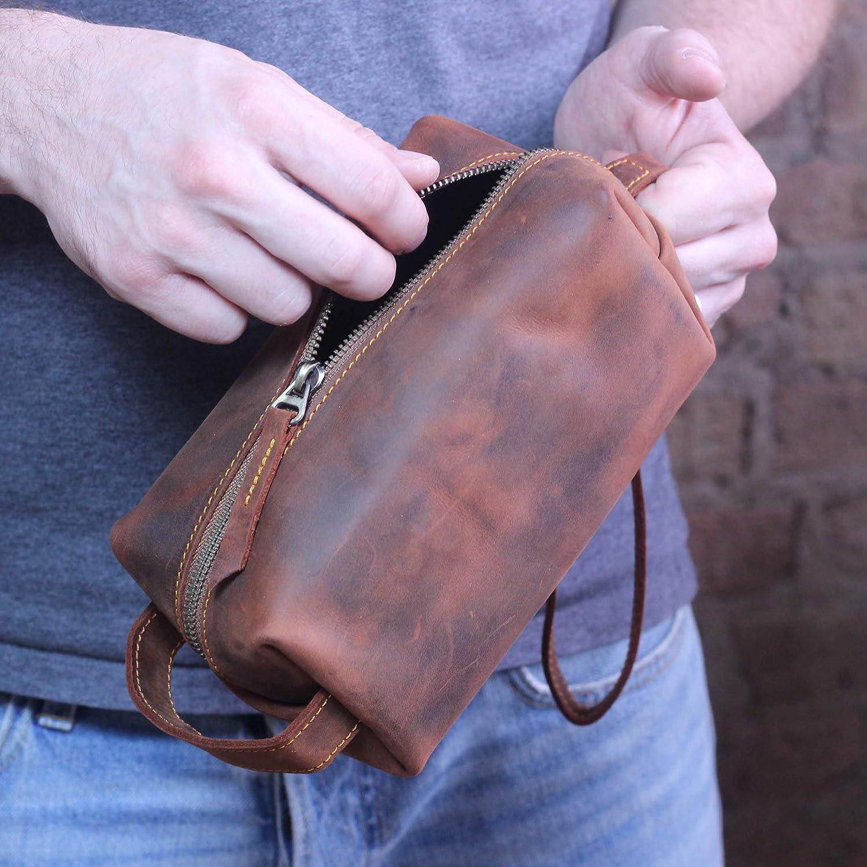 89b2a7bdf497 Amazon.com: Monogrammed Rustic Leather Dopp Kit - Handcrafted ...