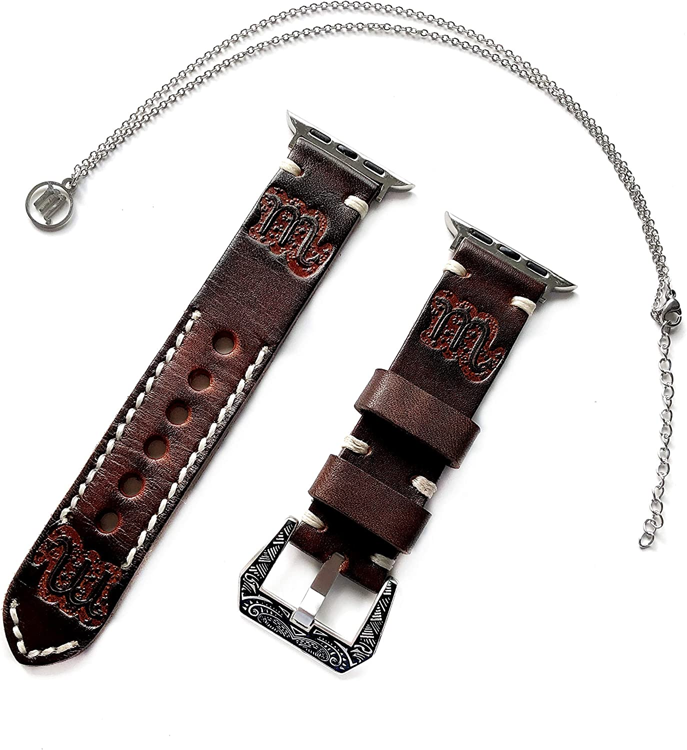 Scorpio Zodiac Band Set Compatible with Apple Watch 38mm 40mm 42mm 44mm iWatch SE 6 5 4 3 2 1 All Series Brown Leather Embossed Strap and 25