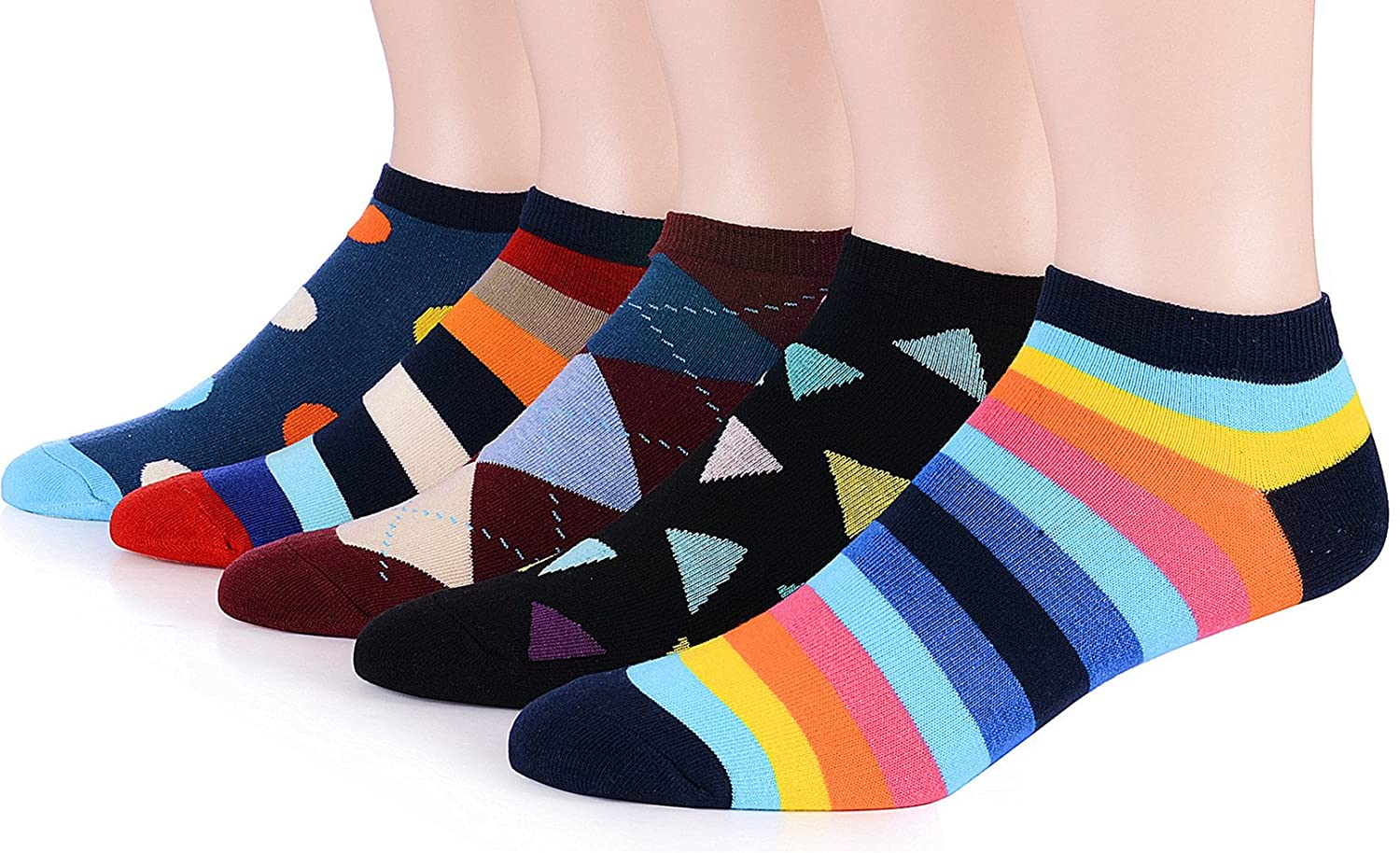Dr. Anison Womens No Show Socks 100 Cotton Vintage Liner Pack of 5 Pair