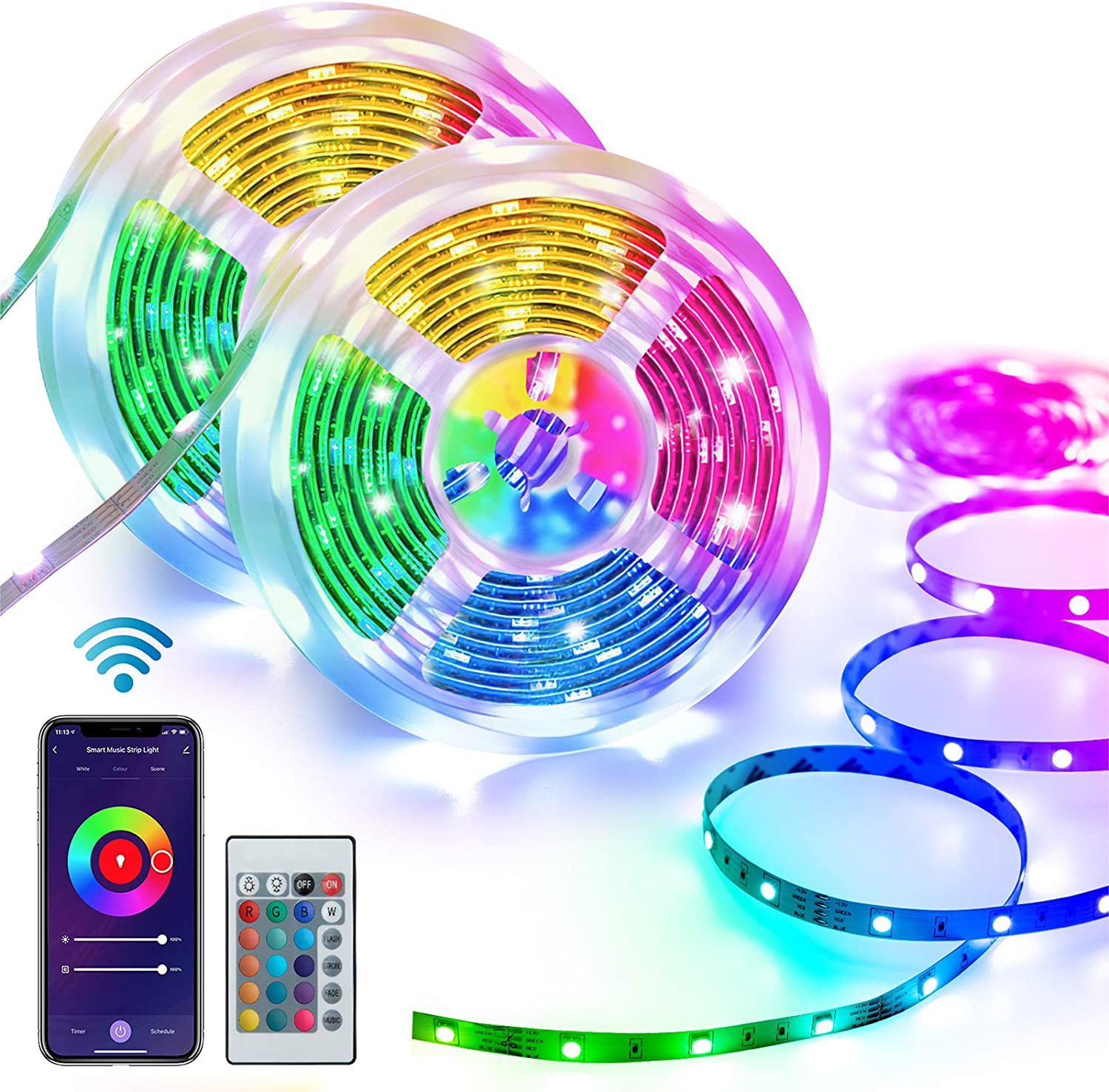 Homeyard Led Strip Lights 32.8FT LED Light for Bedroom WiFi RGB Light Strips Work with Alexa Google Assistant Remote APP Control Music Sync Rope Light Color Changing for Home Kitchen Tv Party DIY