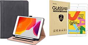 ProCase iPad 7th Generation 10.2 2019 Stand Case Bundle with 2 Pack iPad 10.2 7th Gen Tempered Glass Screen Protector