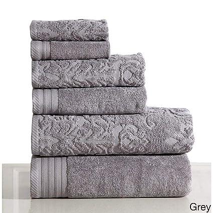 6 pieza gris Jacquard juego de toallas de baño, gris damasco Floral tema toallas Dobby