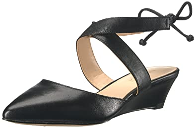 Nine West Women's Elira Leather Wedge Pump Black Size 7.0