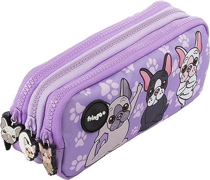 Estuche para lápices de 3 compartimentos FRINGOO, para niños, divertido y bonito, color French Dog Yoga - 3 Compartments Large: Amazon.es: Oficina y papelería