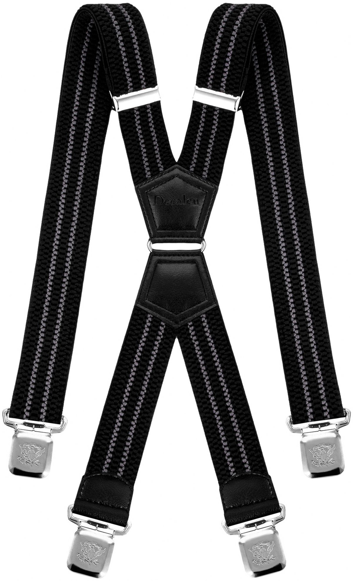 Mens Suspenders X Style Very Strong Clips Adjustable One Size Fits All Heavy Duty Braces (Black - Grey)