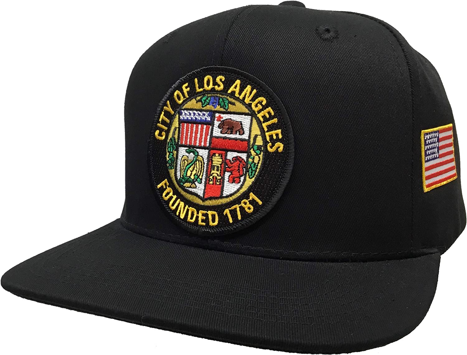 City of Los Angeles with small usa flag yellow 2 logos Hat Black SnapBack